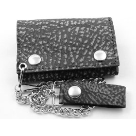 Black Distress Leather Chain Wallet #Floor-Premium